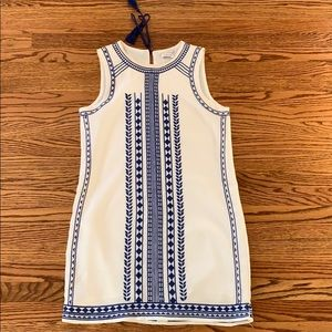 White and Blue English Factory Shift Dress: Size S